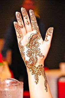 Mehndi is the application of henna as a temporary form of skin decoration, commonly applied during Eid al-Fitr in Indian subcontinent culture.