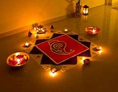 Rangoli decorations, made using colored powder, are popular during Diwali.